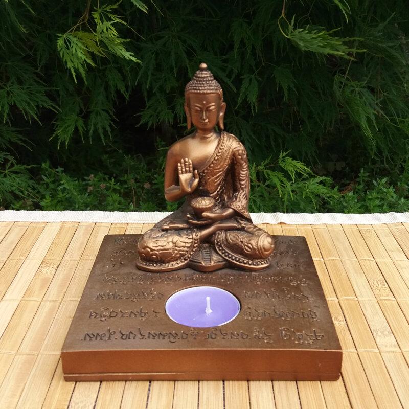 buddha mit kerzenhalter 13 cm schwere qualit t. Black Bedroom Furniture Sets. Home Design Ideas